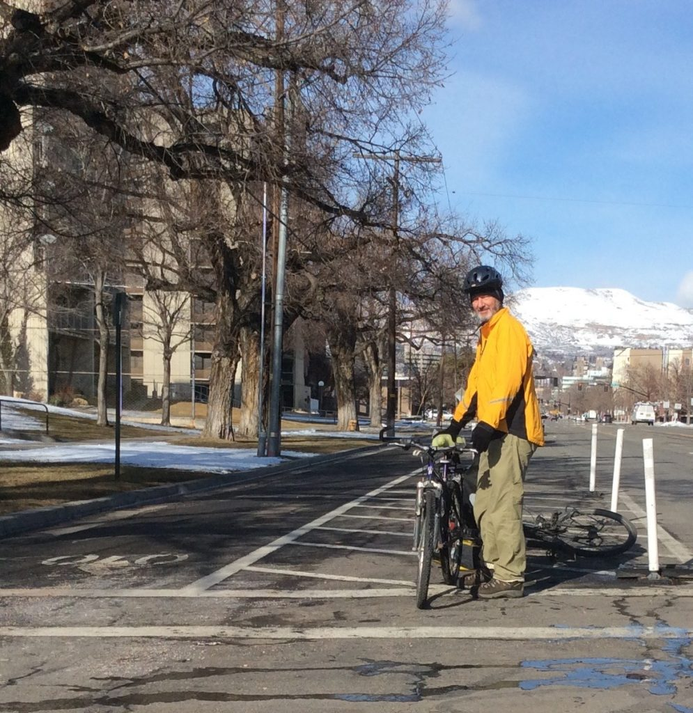 Big beautiful dedicated bicycle lanes in SLC. Views aren't bad either.