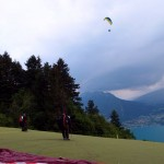 Paragliding over Lake Annecy, France